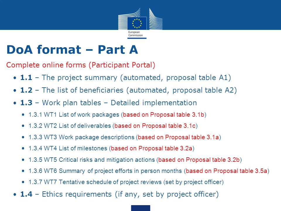 Complete online forms (Participant Portal) 1.1 – The project summary (automated, proposal table A1) 1.2 – The list of beneficiaries (automated, propos
