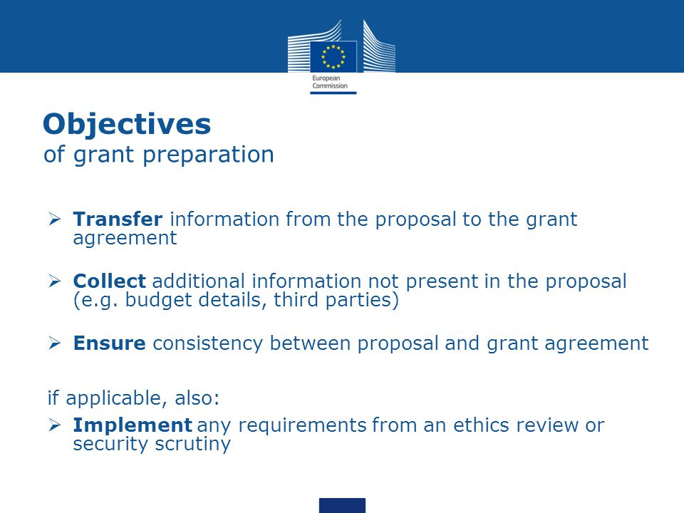  Transfer information from the proposal to the grant agreement  Collect additional information not present in the proposal (e.g. budget details, thi