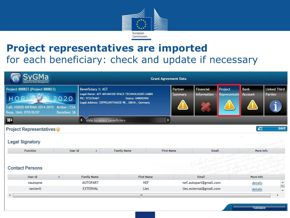 Project representatives are imported for each beneficiary: check and update if necessary