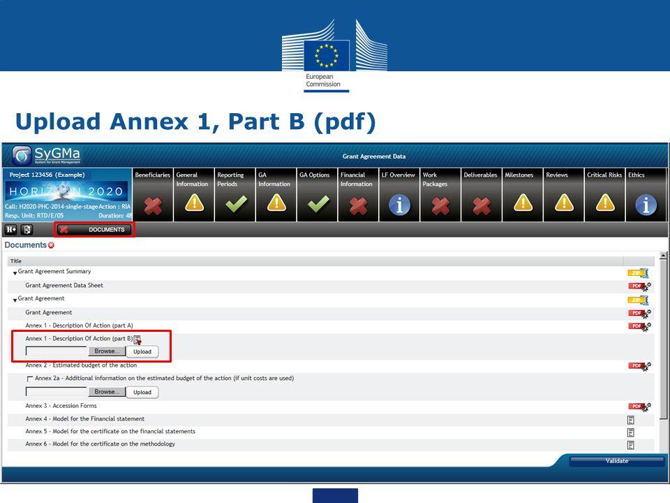 Upload Annex 1, Part B (pdf) Project 123456 (Example)
