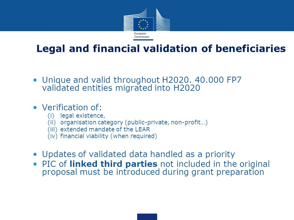 Unique and valid throughout H2020. 40.000 FP7 validated entities migrated into H2020 Verification of: (i)legal existence, (ii)organisation category (p