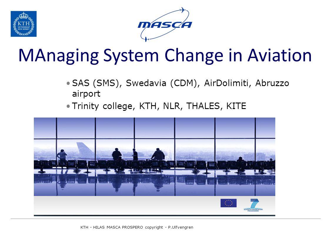 SAS (SMS), Swedavia (CDM), AirDolimiti, Abruzzo airport Trinity college, KTH, NLR, THALES, KITE MAnaging System Change in Aviation KTH - HILAS MASCA PROSPERO copyright - P.Ulfvengren