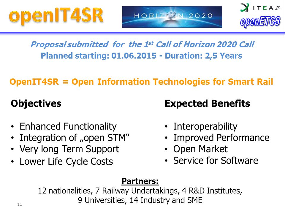 Proposal submitted for the 1 st Call of Horizon 2020 Call Planned starting: 01.06.2015 - Duration: 2,5 Years OpenIT4SR = Open Information Technologies