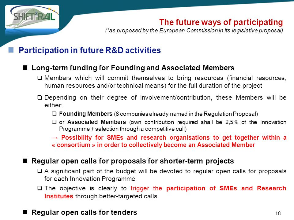 The future ways of participating (*as proposed by the European Commission in its legislative proposal) Participation in future R&D activities Long-ter
