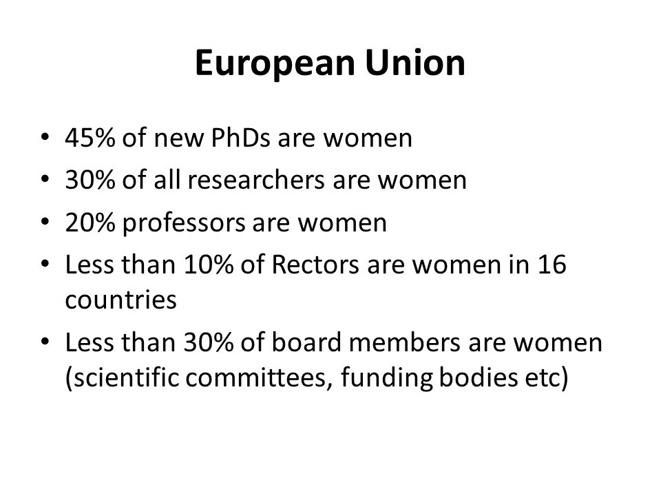 European Union 45% of new PhDs are women 30% of all researchers are women 20% professors are women Less than 10% of Rectors are women in 16 countries Less than 30% of board members are women (scientific committees, funding bodies etc)