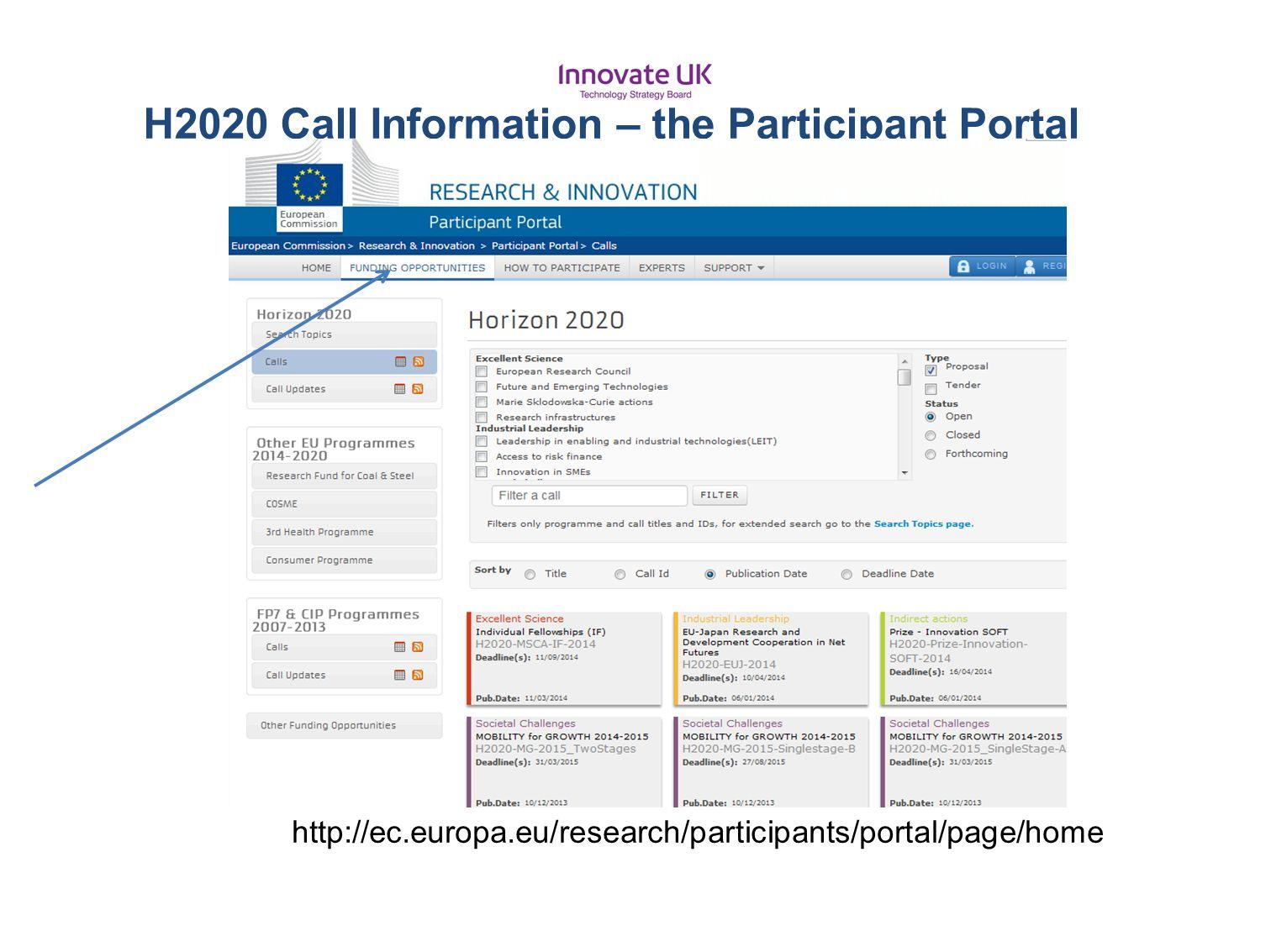 H2020 Call Information – the Participant Portal http://ec.europa.eu/research/participants/portal/page/home
