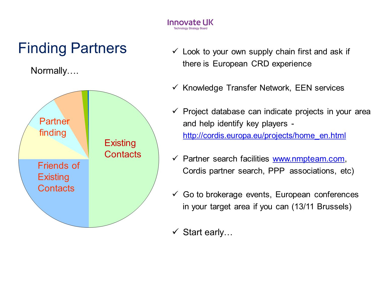 Finding Partners Existing Contacts Friends of Existing Contacts Partner finding Normally…. Look to your own supply chain first and ask if there.is Eur