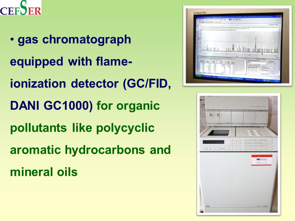 gas chromatograph equipped with flame- ionization detector (GC/FID, DANI GC1000) for organic pollutants like polycyclic aromatic hydrocarbons and mineral oils