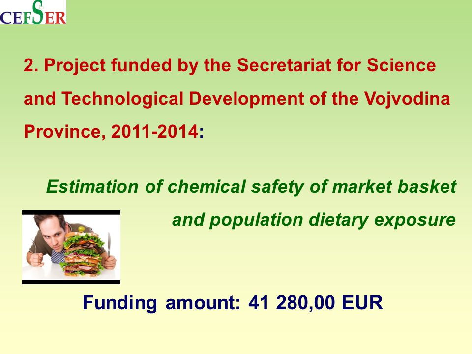 2. Project funded by the Secretariat for Science and Technological Development of the Vojvodina Province, 2011-2014: Estimation of chemical safety of
