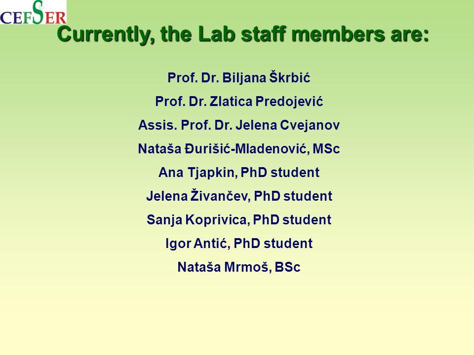 Currently, the Lab staff members are: Prof. Dr. Biljana Škrbić Prof.