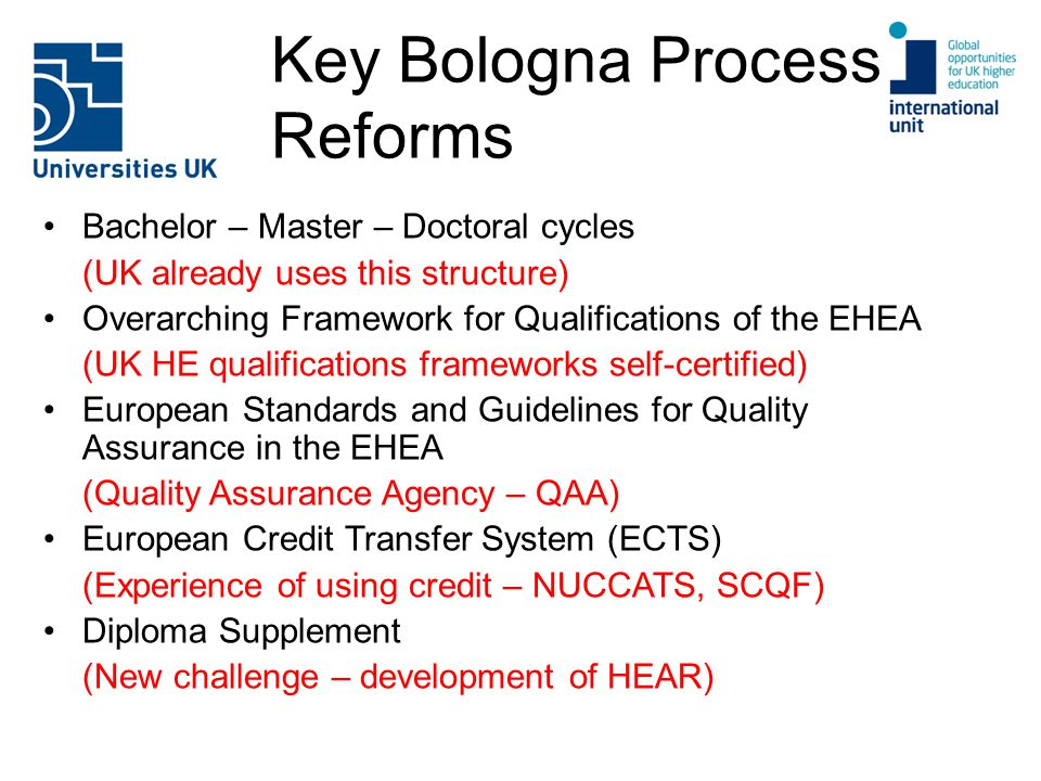 Key Bologna Process Reforms Bachelor – Master – Doctoral cycles (UK already uses this structure) Overarching Framework for Qualifications of the EHEA (UK HE qualifications frameworks self-certified) European Standards and Guidelines for Quality Assurance in the EHEA (Quality Assurance Agency – QAA) European Credit Transfer System (ECTS) (Experience of using credit – NUCCATS, SCQF) Diploma Supplement (New challenge – development of HEAR)