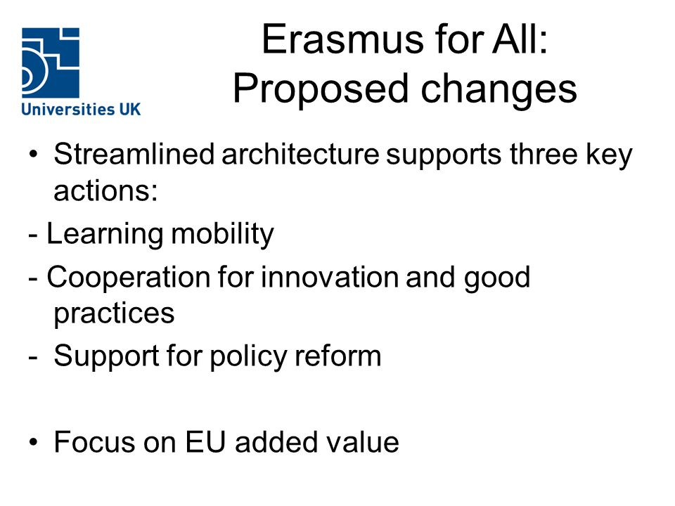Erasmus for All: Proposed changes Streamlined architecture supports three key actions: - Learning mobility - Cooperation for innovation and good practices -Support for policy reform Focus on EU added value
