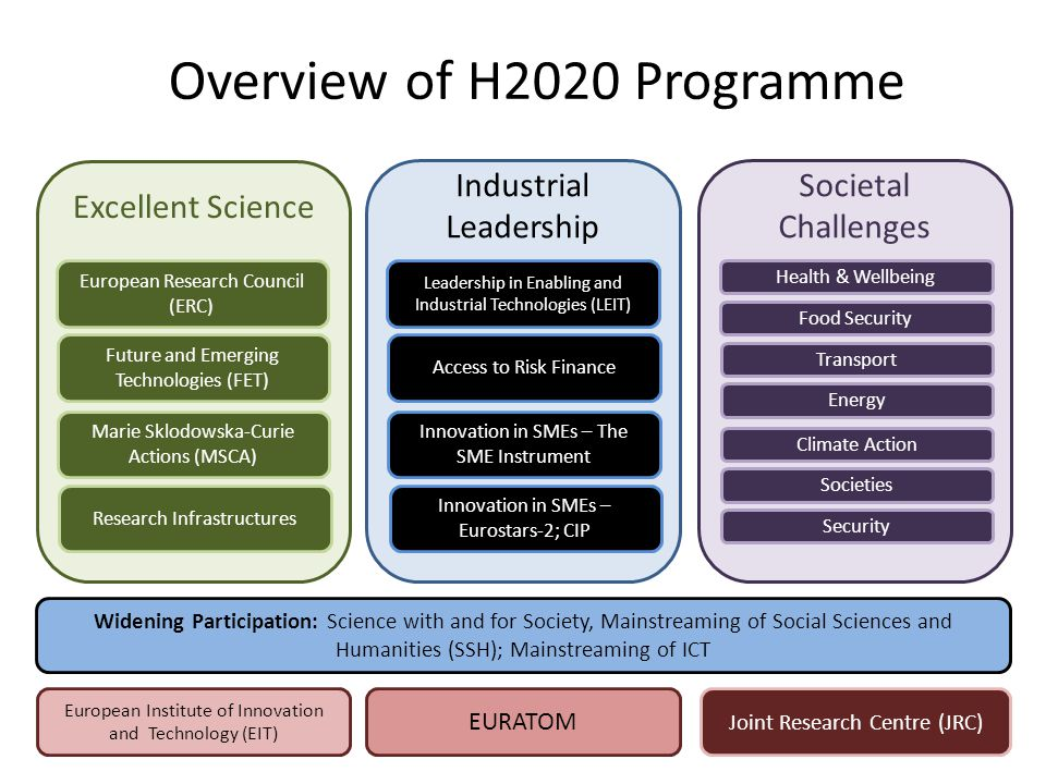 Overview of H2020 Programme Excellent Science Industrial Leadership Societal Challenges European Research Council (ERC) Future and Emerging Technologi