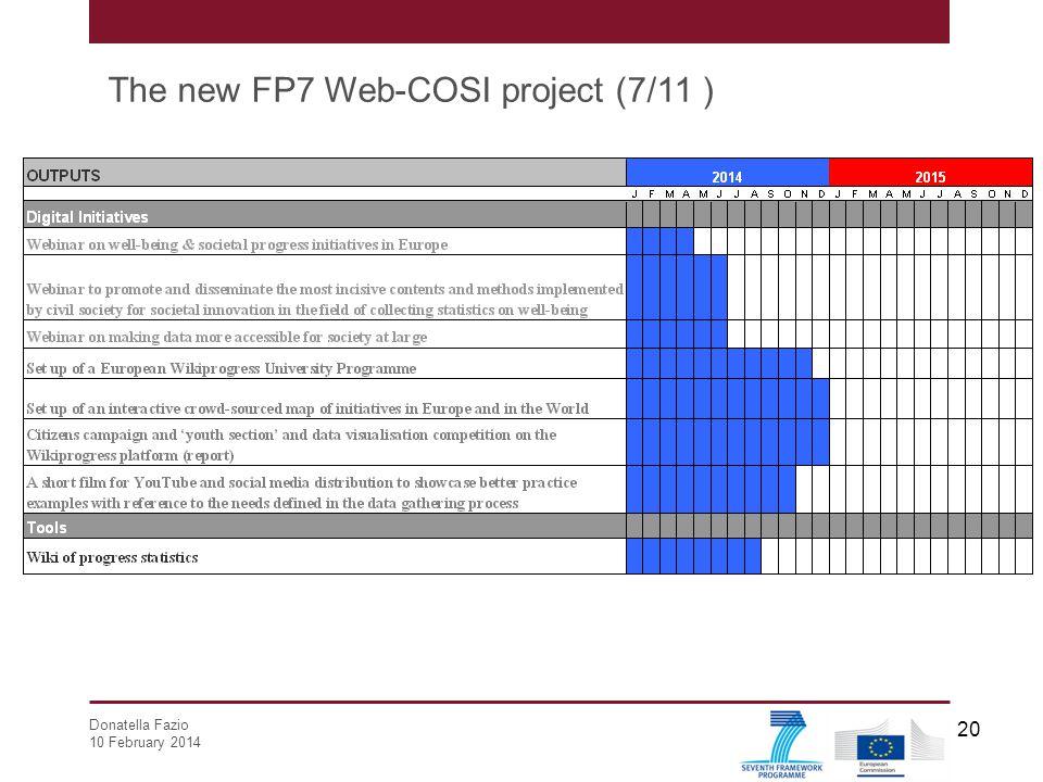 Donatella Fazio 10 February 2014 20 The new FP7 Web-COSI project (7/11 )