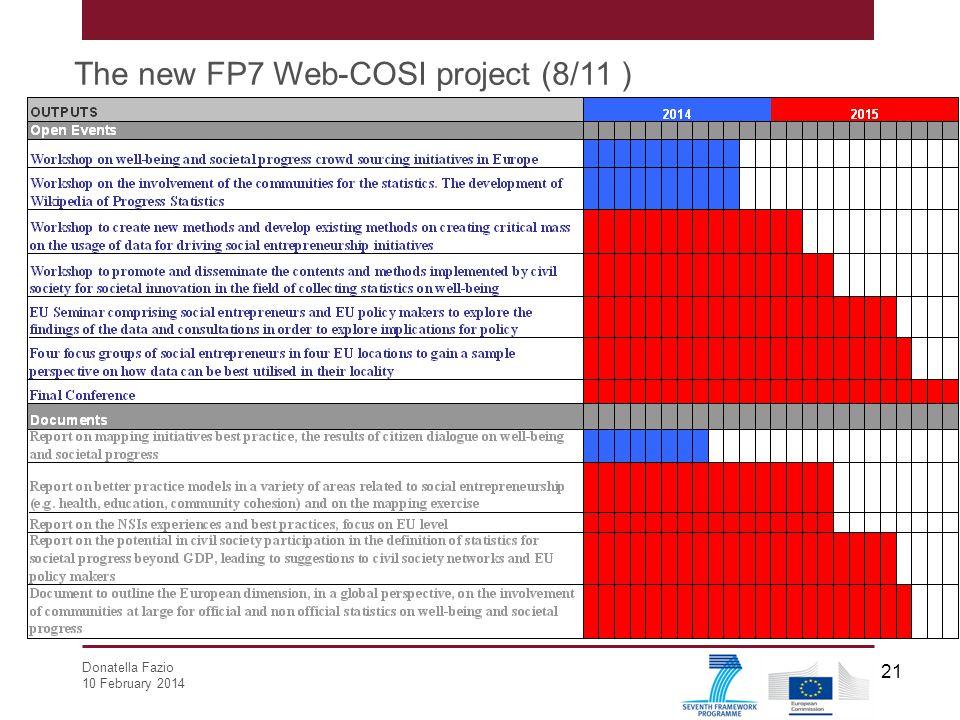 Donatella Fazio 10 February 2014 21 The new FP7 Web-COSI project (8/11 )