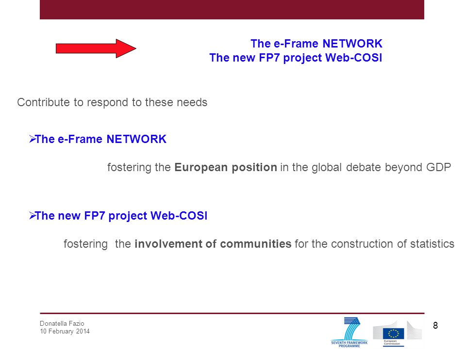 Donatella Fazio 10 February 2014 8 The e-Frame NETWORK The new FP7 project Web-COSI Contribute to respond to these needs  The e-Frame NETWORK fosteri