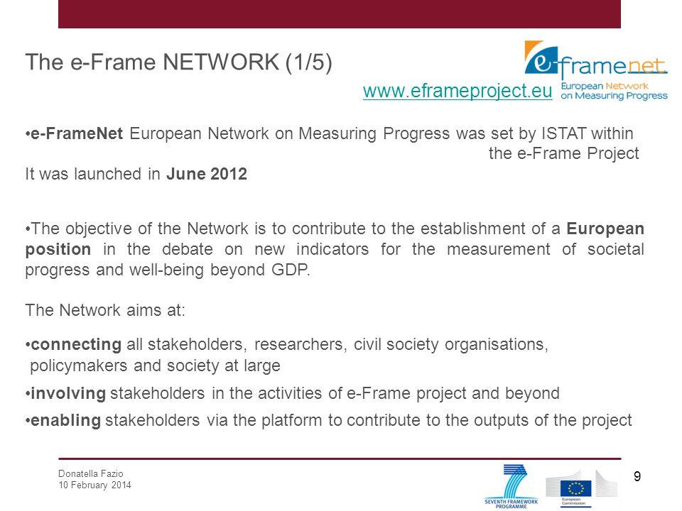 Donatella Fazio 10 February 2014 9 The e-Frame NETWORK (1/5) www.eframeproject.eu e-FrameNet European Network on Measuring Progress was set by ISTAT w