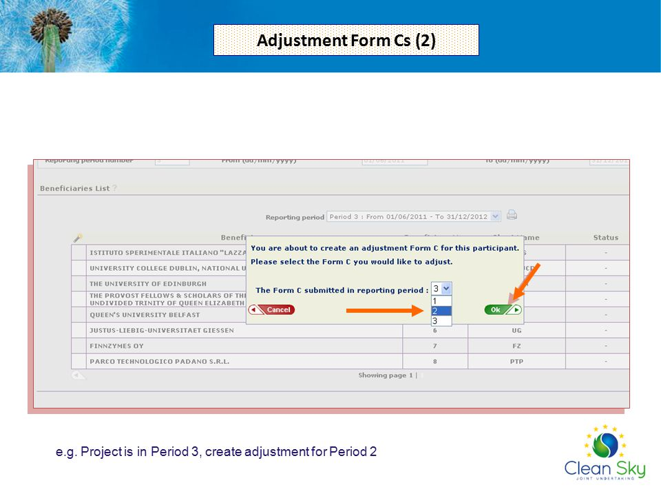 Adjustment Form Cs (2) e.g. Project is in Period 3, create adjustment for Period 2