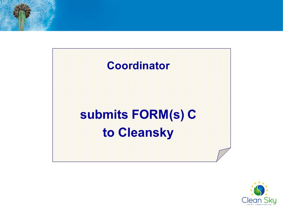 Coordinator submits FORM(s) C to Cleansky