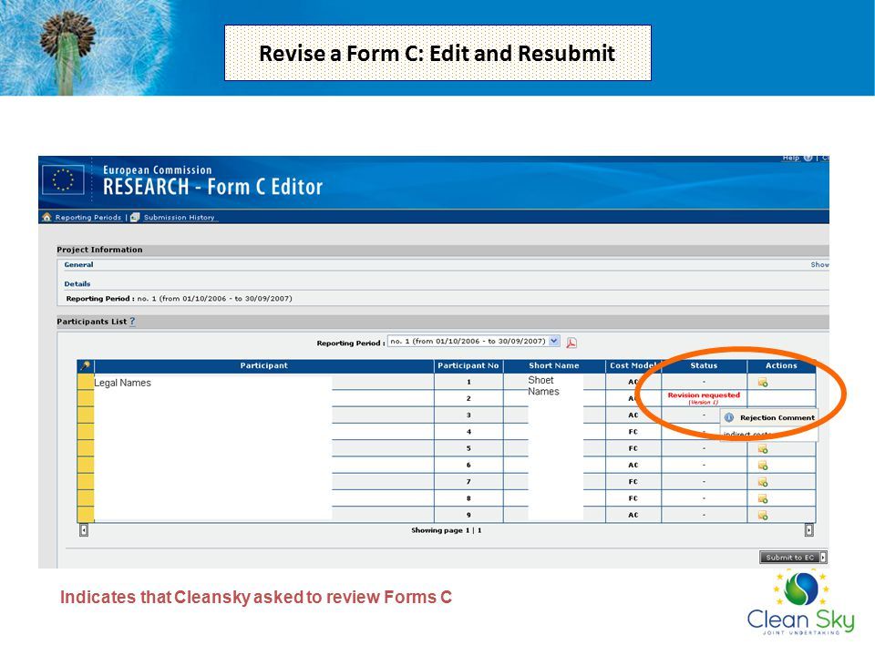 Indicates that Cleansky asked to review Forms C Revise a Form C: Edit and Resubmit