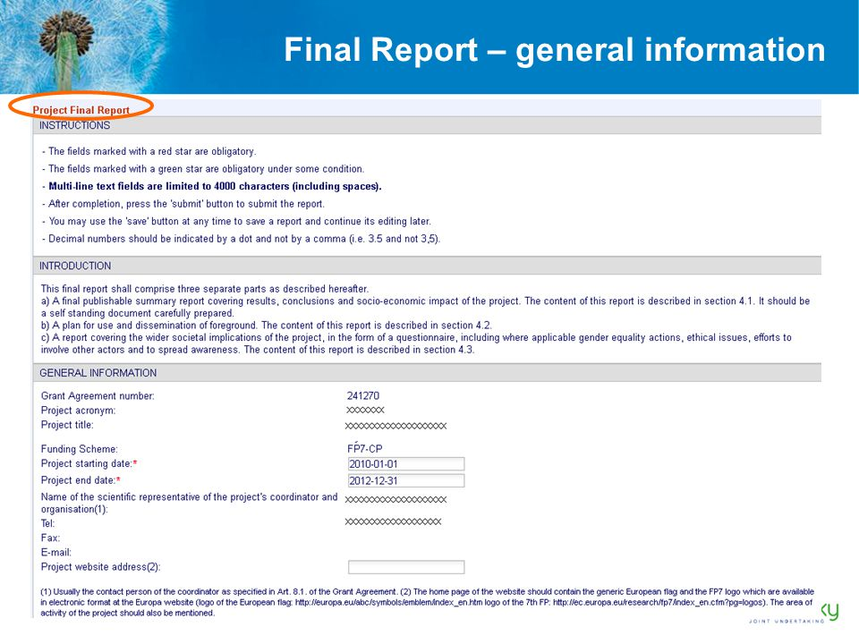 Final Report – general information