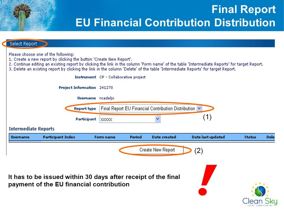 (1) (2) It has to be issued within 30 days after receipt of the final payment of the EU financial contribution Final Report EU Financial Contribution