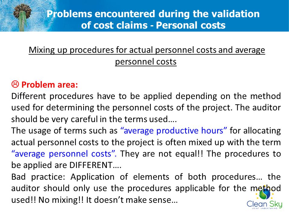 Mixing up procedures for actual personnel costs and average personnel costs  Problem area: Different procedures have to be applied depending on the m