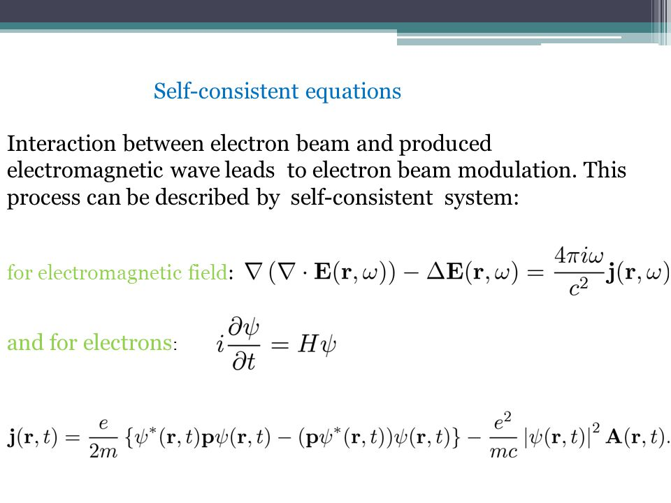 Interaction between electron beam and produced electromagnetic wave leads to electron beam modulation.