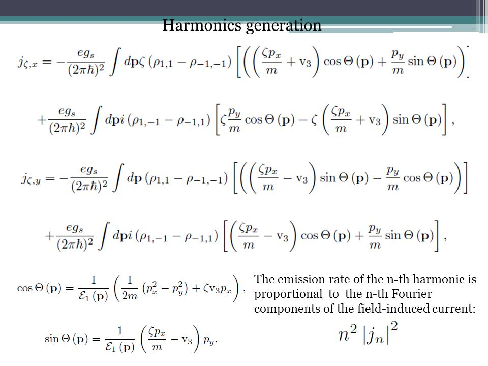 Harmonics generation The emission rate of the n-th harmonic is proportional to the n-th Fourier components of the field-induced current: