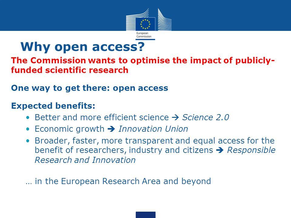 Contacts DG RTD Daniel SPICHTINGER (Unit A6, DG RTD) daniel.spichtinger@ec.europa.eu Monica TARAZONA RUA(Unit A6, DG RTD) maria-monica.tarazona-rua@ec.europa.eu Links EC OA website http://ec.europa.eu/research/science-society/open_access European Research Area (ERA) http://ec.europa.eu/research/era/index_en.htm Innovation Union http://ec.europa.eu/research/innovation-union/ Study to measure growth of OA http://europa.eu/rapid/press-release_IP-13-786_en.htm H2020 guidance http://ec.europa.eu/research/participants/data/ref/h2020/grants_manual/hi/oa_pilo t/h2020-hi-oa-pilot-guide_en.pdf We welcome your input Twitter: @OpenAccessEC