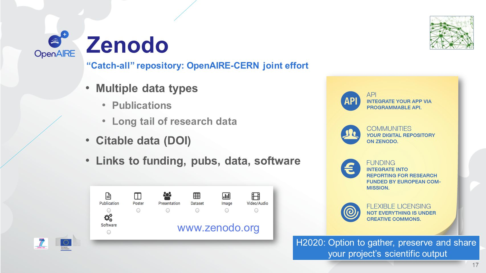 Zenodo Multiple data types Publications Long tail of research data Citable data (DOI) Links to funding, pubs, data, software Catch-all repository: OpenAIRE-CERN joint effort 17 www.zenodo.org H2020: Option to gather, preserve and share your project's scientific output