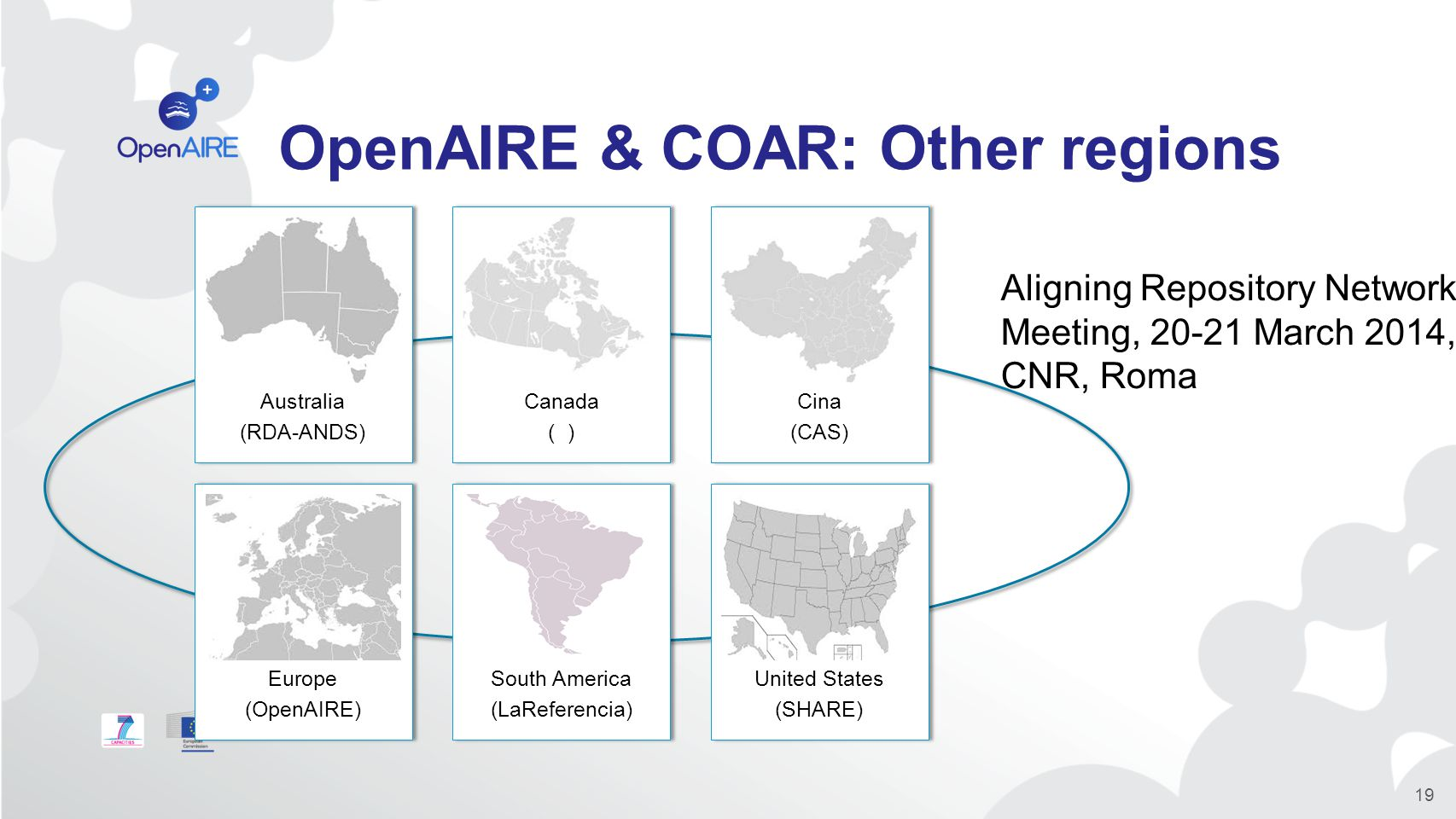 OpenAIRE & COAR: Other regions 19 Aligning Repository Networks Meeting, 20-21 March 2014, CNR, Roma