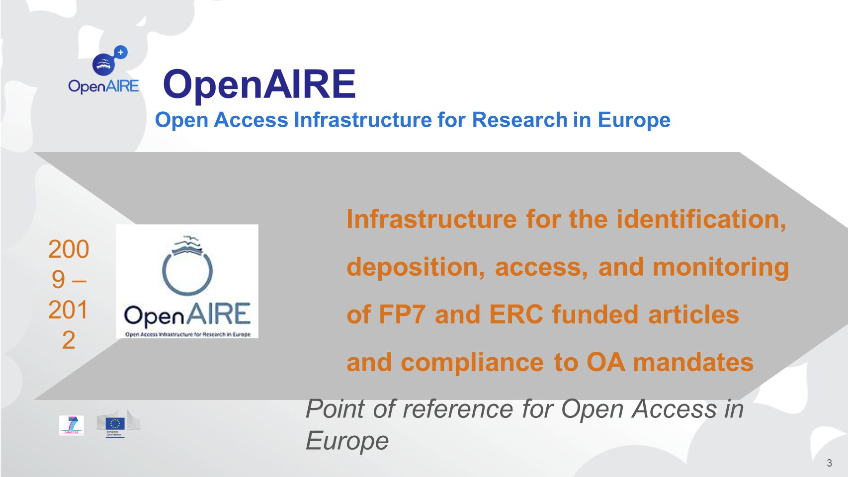 OpenAIRE 3 Infrastructure for the identification, deposition, access, and monitoring of FP7 and ERC funded articles and compliance to OA mandates 200 9 – 201 2 Point of reference for Open Access in Europe Open Access Infrastructure for Research in Europe