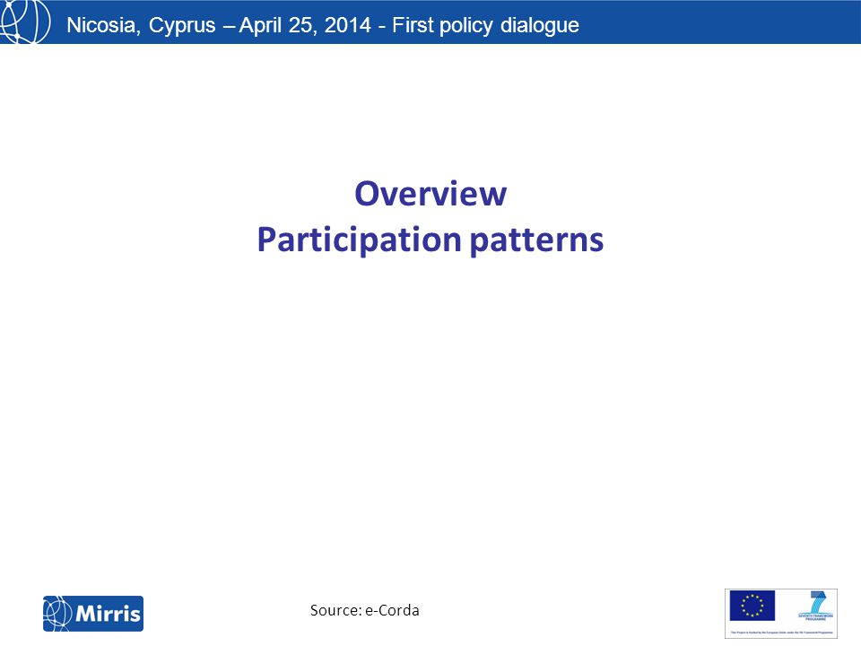 Nicosia, Cyprus – April 25, 2014 - First policy dialogue Overview Participation patterns Source: e-Corda