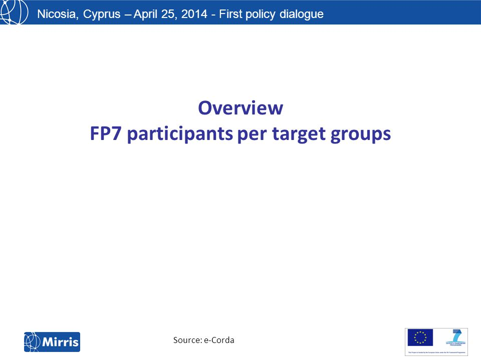 Nicosia, Cyprus – April 25, 2014 - First policy dialogue Overview FP7 participants per target groups Source: e-Corda