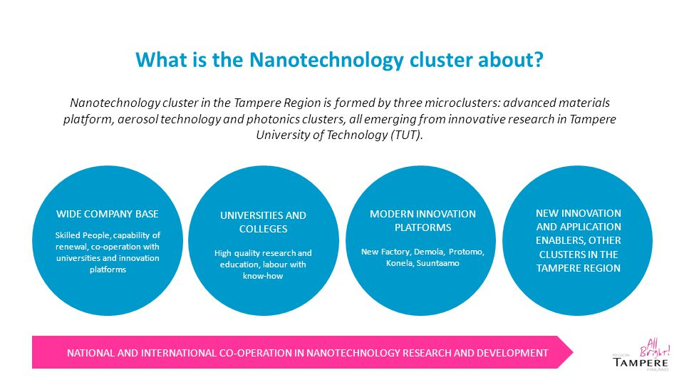 What is the Nanotechnology cluster about? NATIONAL AND INTERNATIONAL CO-OPERATION IN NANOTECHNOLOGY RESEARCH AND DEVELOPMENT WIDE COMPANY BASE Skilled