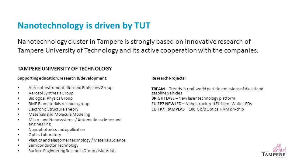Nanotechnology is driven by TUT TAMPERE UNIVERSITY OF TECHNOLOGY Supporting education, research & development: Aerosol Instrumentation and Emissions Group Aerosol Synthesis Group Biological Physics Group BME Biomaterials research group Electronic Structure Theory Materials and Molecule Modeling Micro- and Nanosystems / Automation science and engineering Nanophotonics and application Optics Laboratory Plastics and elastomer technology / Materials Science Semiconductor Technology Surface Engineering Research Group / Materials Research Projects: TREAM – Trends in real-world particle emissions of diesel and gasoline vehicles BRIGHTLASE – New laser technology platform EU FP7 NEWLED – Nanostructured Efficient White LEDs EU FP7: RAMPLAS – 100 Gb/s Optical RAM on-chip Nanotechnology cluster in Tampere is strongly based on innovative research of Tampere University of Technology and its active cooperation with the companies.