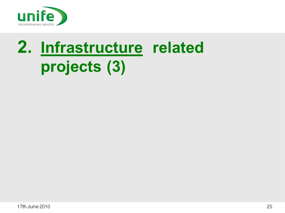 2. Infrastructure related projects (3) 17th June 2010 25
