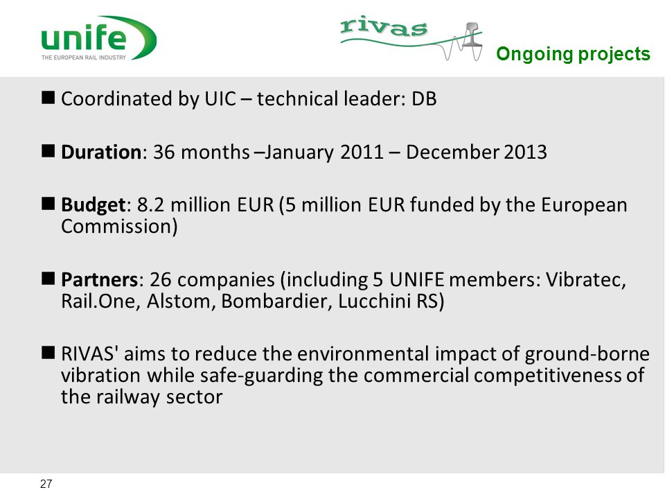 27 Ongoing projects Coordinated by UIC – technical leader: DB Duration: 36 months –January 2011 – December 2013 Budget: 8.2 million EUR (5 million EUR