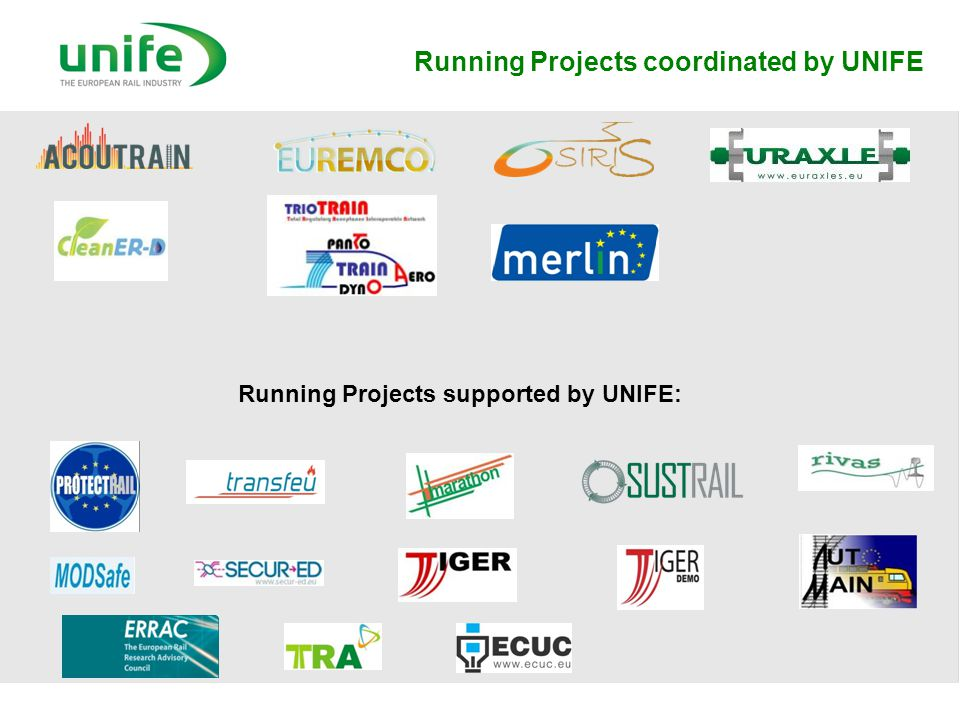Running Projects coordinated by UNIFE Running Projects supported by UNIFE: