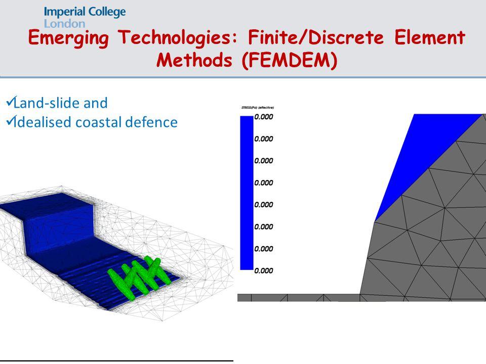 Emerging Technologies: Finite/Discrete Element Methods (FEMDEM) Land-slide and Idealised coastal defence