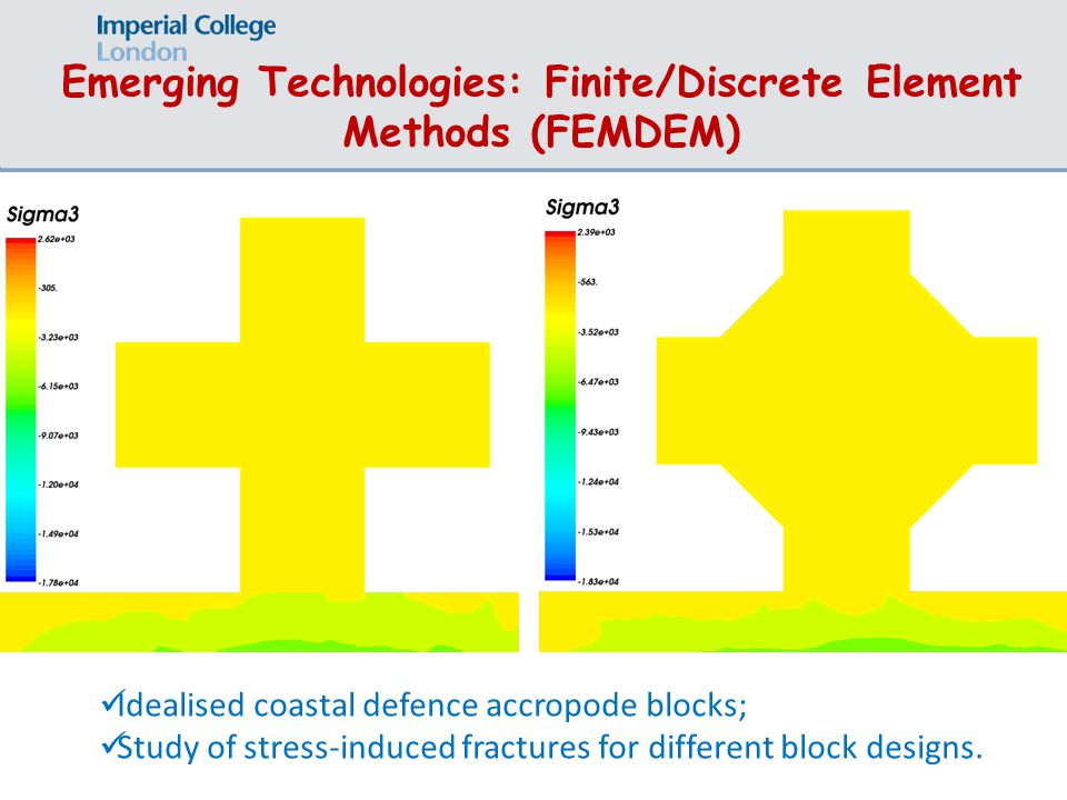 Emerging Technologies: Finite/Discrete Element Methods (FEMDEM) Idealised coastal defence accropode blocks; Study of stress-induced fractures for different block designs.