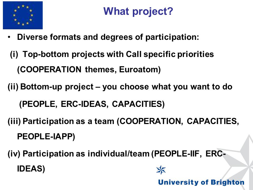 What project? Framework Programme 7 Diverse formats and degrees of participation: (i) Top-bottom projects with Call specific priorities (COOPERATION t