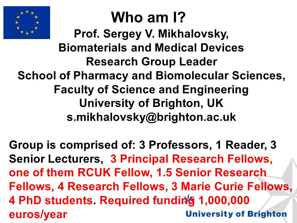Framework Programme 5, 6 and 7 INCO-COPERNICUS, INTAS, TEMPUS III and IV, Erasmus-Mundus I and II, Lead expert in Life Sciences, Erasmus-Mundus I NANO-Austria, Fundamental Research Fund – Russia, NANO-Cyprus, UK national funding bodies: EPSRC, BBSRC, the Royal Society Project proposal evaluator: