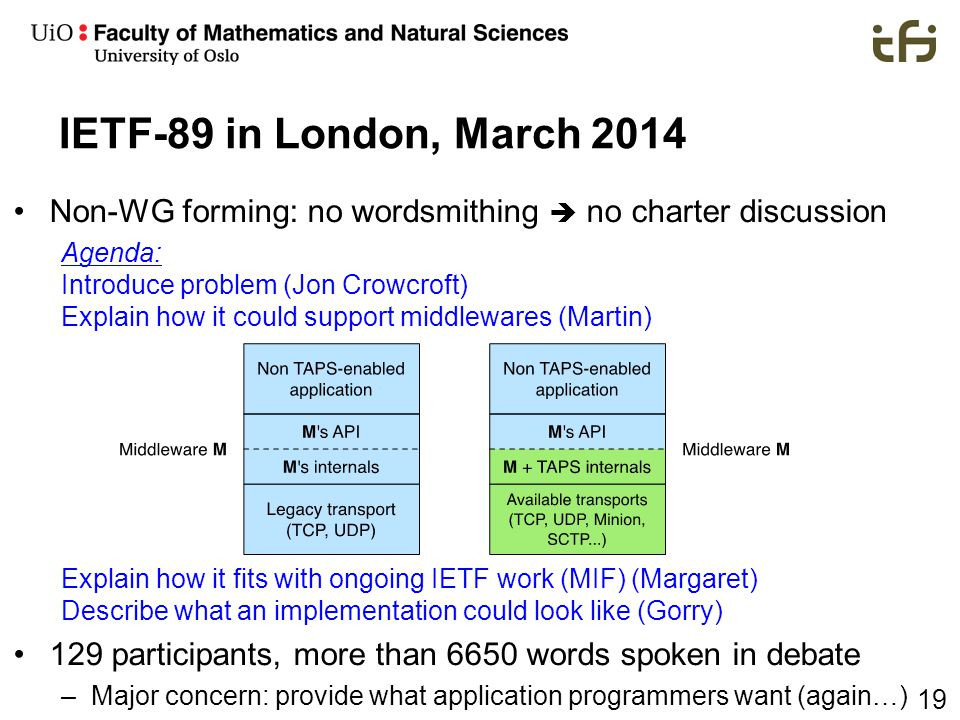 19 IETF-89 in London, March 2014 Non-WG forming: no wordsmithing  no charter discussion Agenda: Introduce problem (Jon Crowcroft) Explain how it coul