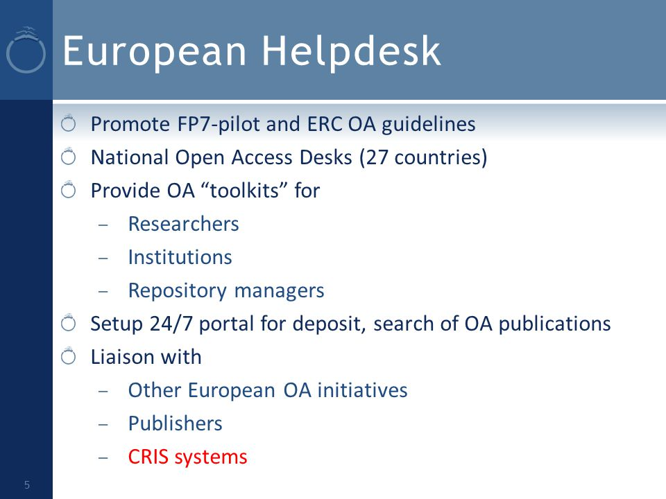European Helpdesk Promote FP7-pilot and ERC OA guidelines National Open Access Desks (27 countries) Provide OA toolkits for – Researchers – Institutions – Repository managers Setup 24/7 portal for deposit, search of OA publications Liaison with – Other European OA initiatives – Publishers – CRIS systems 5