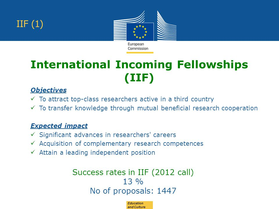 Education and Culture IIF (1) Objectives To attract top-class researchers active in a third country To transfer knowledge through mutual beneficial research cooperation Expected impact Significant advances in researchers careers Acquisition of complementary research competences Attain a leading independent position International Incoming Fellowships (IIF) Success rates in IIF (2012 call) 13 % No of proposals: 1447