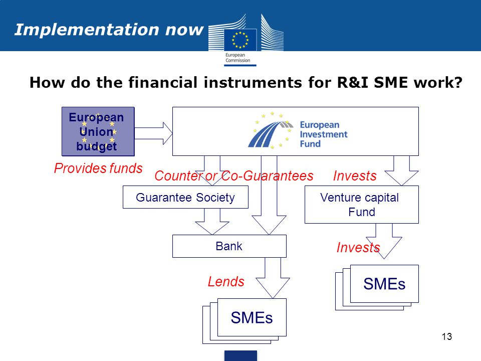13 How do the financial instruments for R&I SME work.