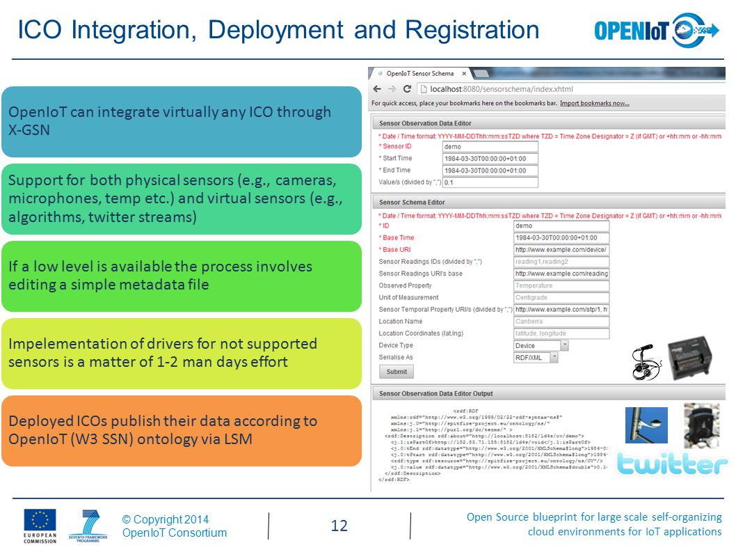 Open Source blueprint for large scale self-organizing cloud environments for IoT applications © Copyright 2014 OpenIoT Consortium 12 ICO Integration, Deployment and Registration OpenIoT can integrate virtually any ICO through X-GSN Support for both physical sensors (e.g., cameras, microphones, temp etc.) and virtual sensors (e.g., algorithms, twitter streams) If a low level is available the process involves editing a simple metadata file Impelementation of drivers for not supported sensors is a matter of 1-2 man days effort Deployed ICOs publish their data according to OpenIoT (W3 SSN) ontology via LSM