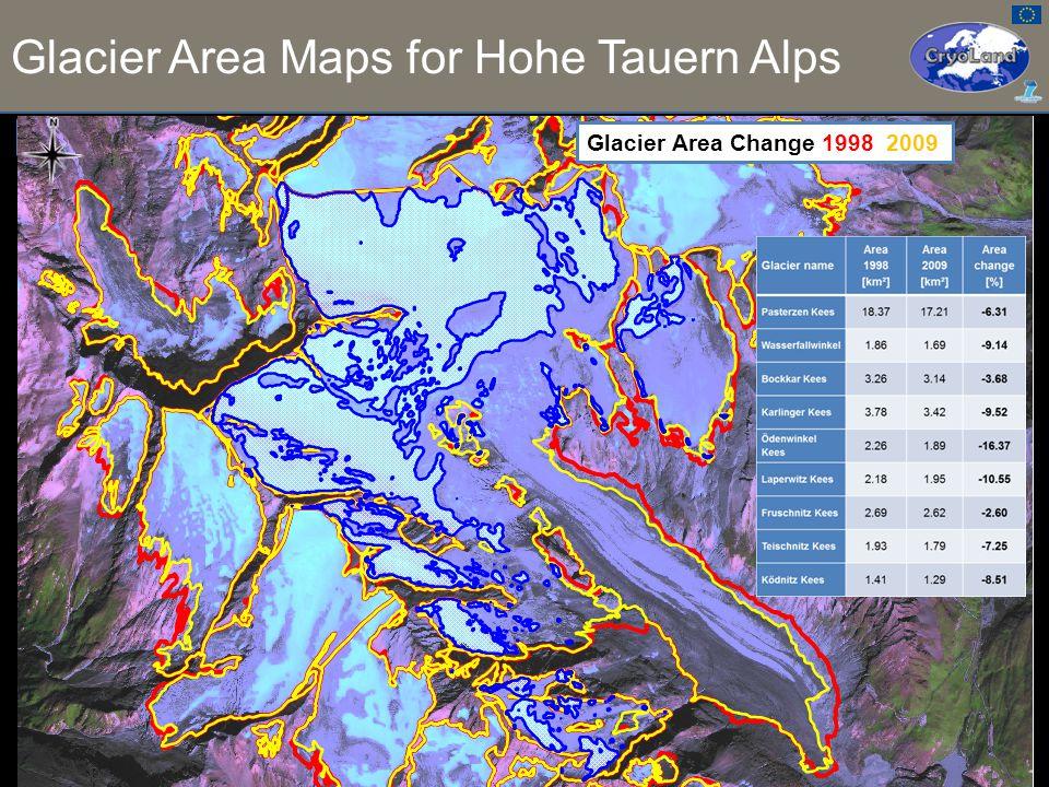 0.46 0.14 0.29 Ratio of Snow and Total Glacier Area Glacier Area Maps for Hohe Tauern Alps 1.9.2009, SPOT–5 (2.5 m, PAN + MS) Pasterze Glacier Area Change 1998 2009